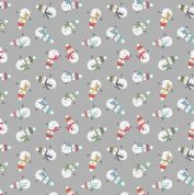 Lewis & Irene - Snow Day - 5963 - Snowmen on Grey, Pearlescent - C35.2 - Cotton Fabric